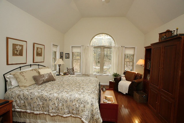 Poconos Home Bedroom with Vaulted Ceilings