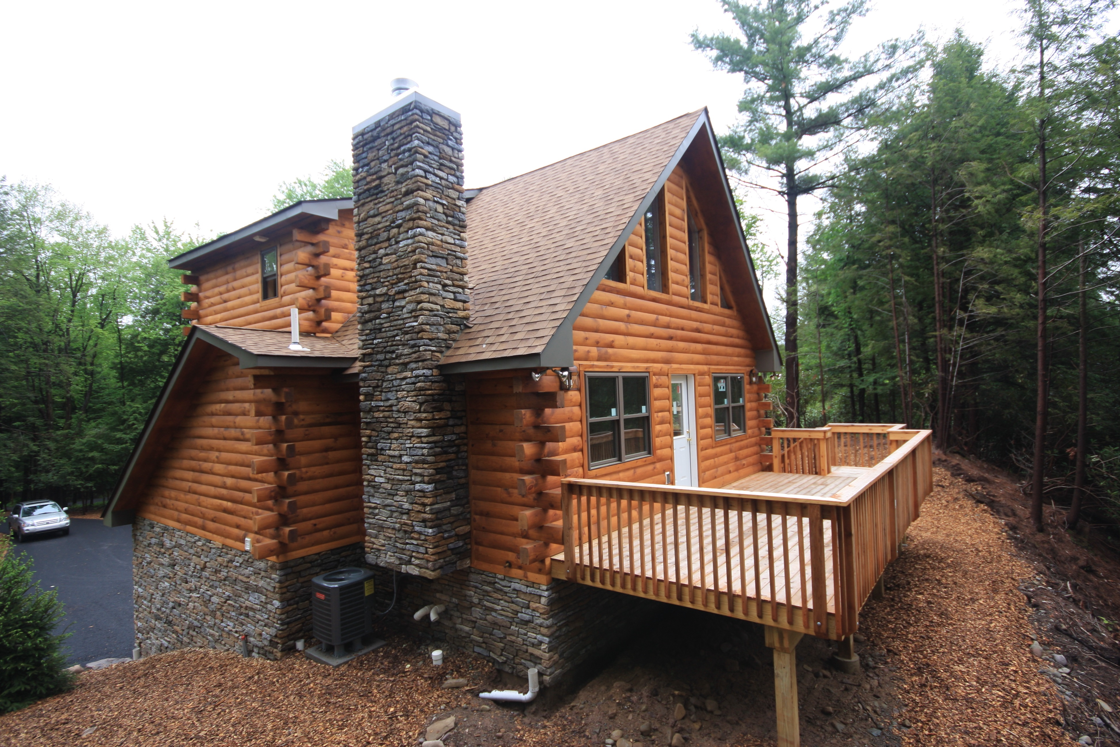 Pocono Log Cabin with Custom Stonework